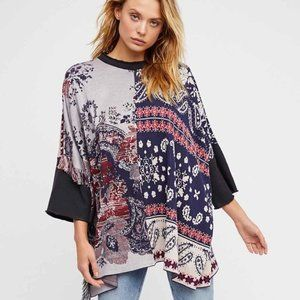 Free People Pieced Paisley Short Sleeve Tunic XS/S